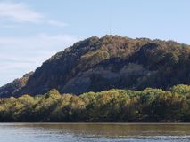 Mighty Ohio River landscape. Towering hills overlooking glassy river stock photos