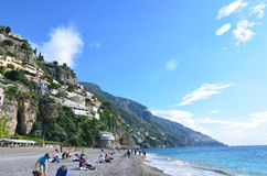 Towering Hills and Sea Cliffs Above Positano Stock Photo