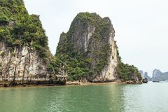 Towering limestone islands over emerald water with growing trees on it that view from cruising tourist boat in summer. Towering limestone islands over emerald Stock Photography