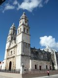 Towering Mexican Cathedral. Set against a vivid blue sky in the city of Campeche Royalty Free Stock Photos