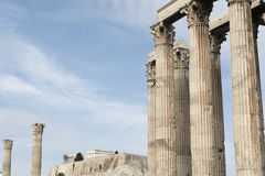 Towering pillars of the Temple of Olympian Zeus, at Athens, Gree Stock Photo