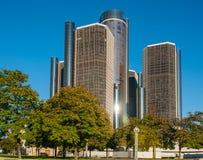 Towering Renaissance Building Detroit. Detroit`s iconic Ren Cen complex building downtown stock photography