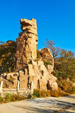 The towering rock sunset of autumn Zu mountain Stock Images