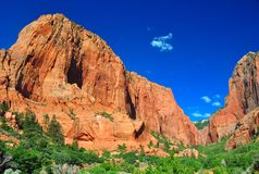 Towering rocks at Zion NP Royalty Free Stock Photography