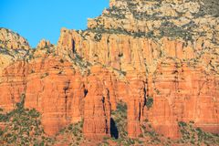 Towering sandstone cliffs in Sedona Arizona.  Royalty Free Stock Photo