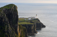 Towering Sea Cliffs at Neist Point Lighthouse in Scotland Royalty Free Stock Image