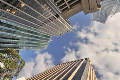 Towering skyscrapers. View of towering modern skyscrapers in central Perth city, Australia Stock Photo