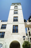 Towering square tower in Tivat, Montenegro. Tower building in the resort area of Porto Montenegro Stock Images
