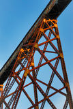 Towering Trestle. Indiana's Tulip Trestle, as seen from below here, is one of the longest railway bridges in the world Royalty Free Stock Photos