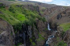 On the trail to the Litlanesfoss waterfall - Iceland, August 2018 stock image