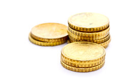 Towers of 10 Euro cent coils Royalty Free Stock Images