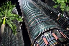 Towers. Two towers in kl malasia at night Stock Images