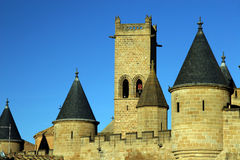 Towers. And bell-tower on a castle of Olite in Navarra, Spain stock images
