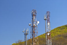 Towers with aerials of cellular Royalty Free Stock Image