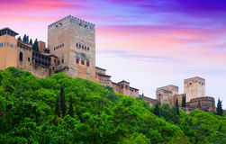 Towers of Alcazaba at Alhambra in sunset.  Granada Royalty Free Stock Image