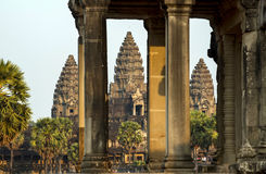 Towers of Angkor War. A view through the towers of Angkor Watu Towers Stock Photography