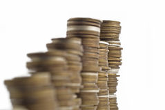 Towers assembled of money. Recession or growth Stock Image
