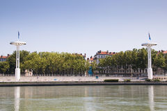 Towers on the banks of the Rhone in Lyon, France Royalty Free Stock Photos