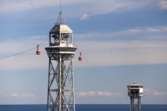 Towers of the Barcelona Port Aerial Tramway Royalty Free Stock Photos