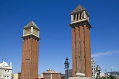 Towers in Barcelona, Spain Royalty Free Stock Photos