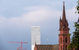 The towers of Basel. antiquity and the present stock photo