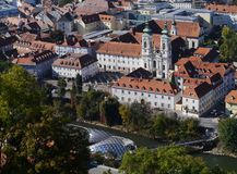 Towers of a basilica in Graz Royalty Free Stock Photos