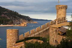 Towers and Battlement in Tossa de Mar Stock Photos