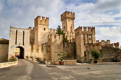 Towers of the beautiful medieval Italian city Sermione. Towers of the beautiful medieval Italian castle in Sermione stock photos