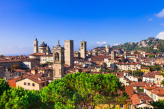 Towers of Bergamo - beautiful medieval town in north of Italy Royalty Free Stock Images