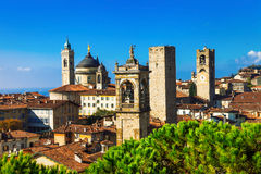 Towers of Bergamo - beautiful medieval town in noth of Italy Stock Image