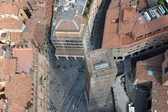 Towers of Bologna. View of one from another Royalty Free Stock Photos