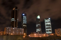 Towers Business Area madrid. Urban landscape of the night in Madrid, Spain Royalty Free Stock Images
