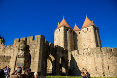 Towers of Cacassonne. Photograph of towers of Cacassone ,Carcassonne, France Royalty Free Stock Photography