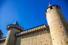 Towers of Cacassonne. Photograph of towers of Cacassone ,Carcassonne, France Royalty Free Stock Image