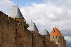 Towers of Carcassonne. Image of the uper part of the walls surounding the fortified city of Carcassonne in Aude department of France Royalty Free Stock Images