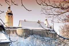 Towers of the castle in Altenburg. Tower Flasche and Tower Hausmannsturm of the castle in Altenburg in winter landscape Stock Photography