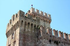 Top of medieval fortificated castle Stock Images