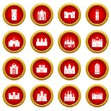 Towers and castles icon red circle set Royalty Free Stock Photos