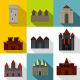Towers and castles icon set, flat style. Towers and castles icon set. Flat style set of 9 towers and castles vector icons for web design Royalty Free Stock Photo