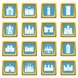 Towers and castles icons azure Stock Images