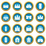 Towers and castles icons blue circle set Stock Image