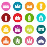 Towers and castles icons many colors set Stock Photography