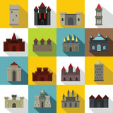 Towers and castles icons set, flat style Royalty Free Stock Images