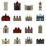 Towers and castles icons set in flat style Royalty Free Stock Photos