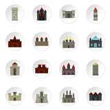 Towers and castles icons set in flat style Stock Image