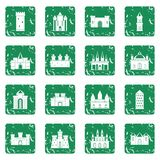 Towers and castles icons set grunge Royalty Free Stock Photography