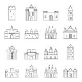 Towers and castles icons set, outline style Royalty Free Stock Photo