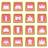 Towers and castles icons pink Stock Photo