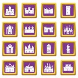 Towers and castles icons set purple Stock Photo
