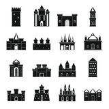 Towers and castles icons set, simple style Royalty Free Stock Photos